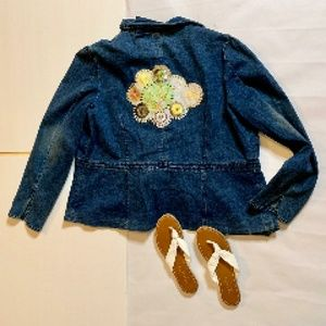 Too She She Blue Jean Jacket Bling Size 2X